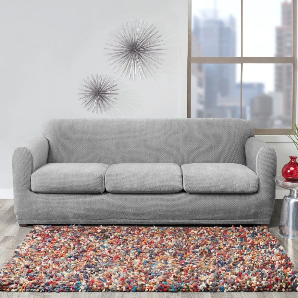Stretch Modern Block Four Piece Sofa Slipcover Form Fit Individual Cushion Covers Machine Washable In 2021 Cushions On Sofa Slipcovered Sofa Slipcovers