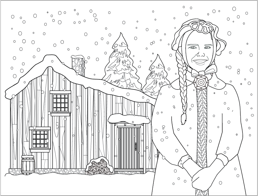 Laura Ingalls Winter Coloring Page Coloring Pages Christmas Coloring Pages School Coloring Pages