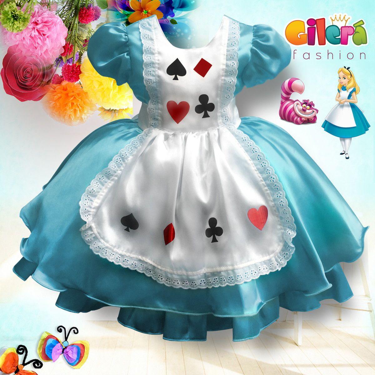 Vestido Infantil Alice No Pais Das Maravilha Vestido Alice No