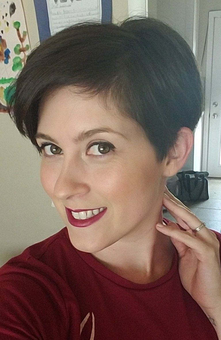 My current really short pixie cut with long bangs and i am loving