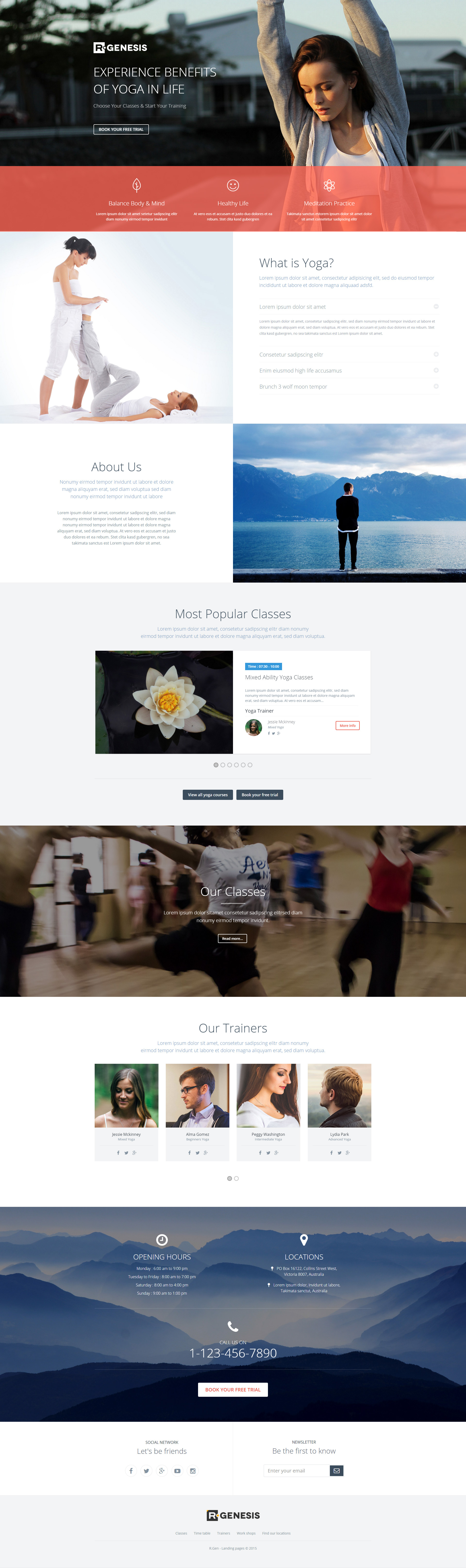Yoga landing page template with page builder