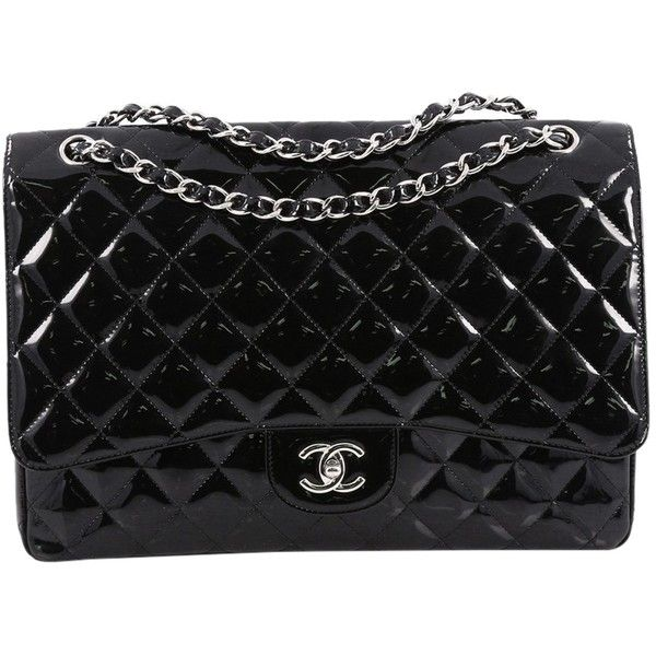 Pre Owned Chanel Classic Single Flap Bag Quilted Patent Maxi 3 455 Liked
