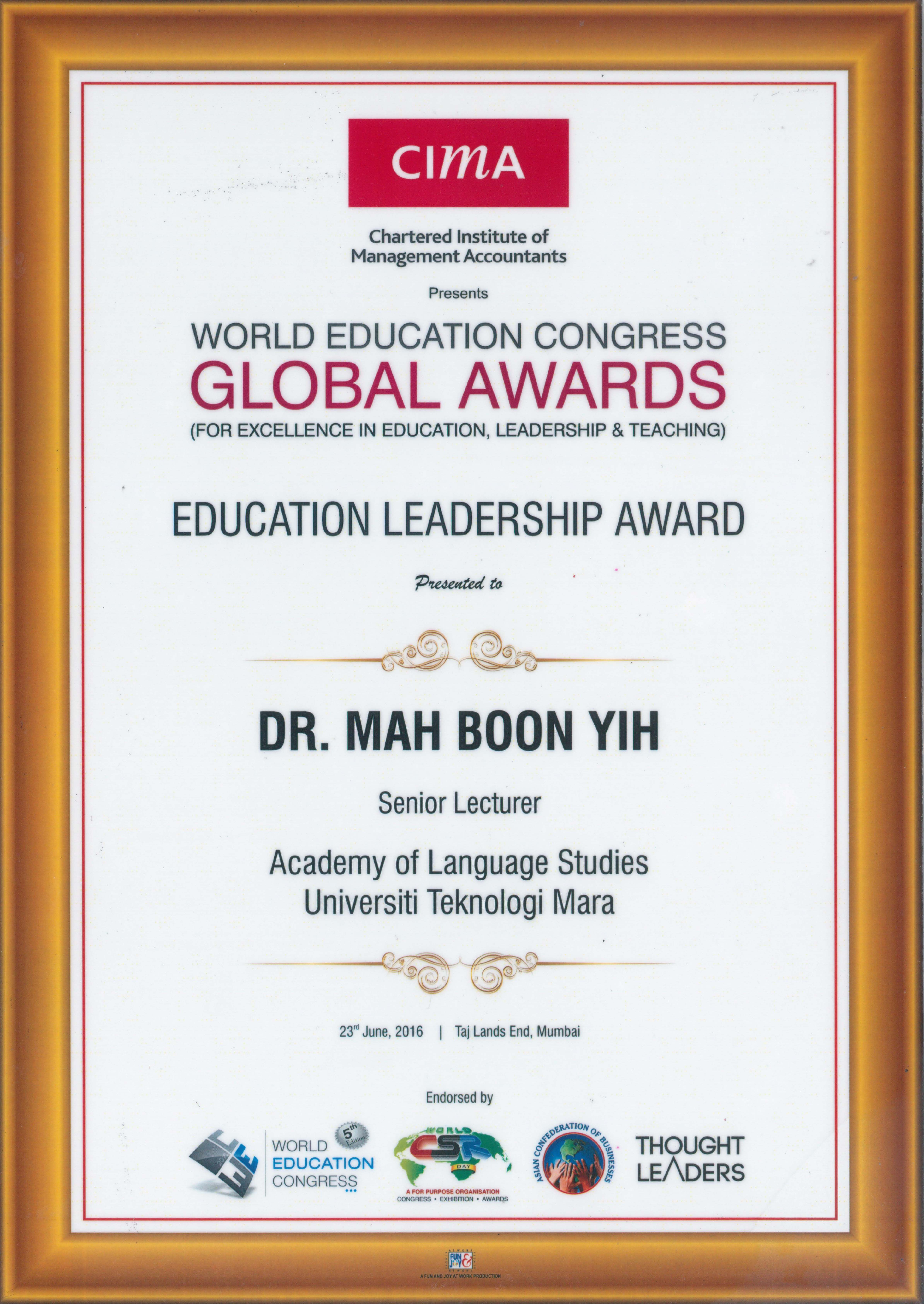World education congress global awards for excellence in education leadership teaching