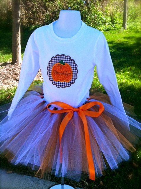 Pumpkin Shirt Set by FibberjibitsDesigns on Etsy