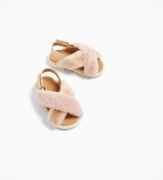 Faux fur sandals, Baby girl shoes