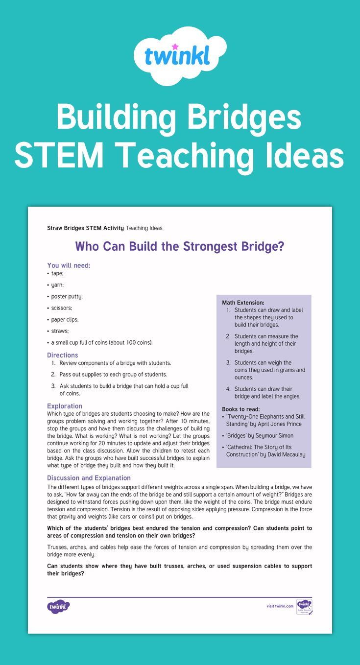 Building Bridges Stem Activity After Discussing Different Types Of