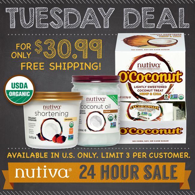 Nutiva Tuesday 24Hour Promo Organic Crazy Deals Buy