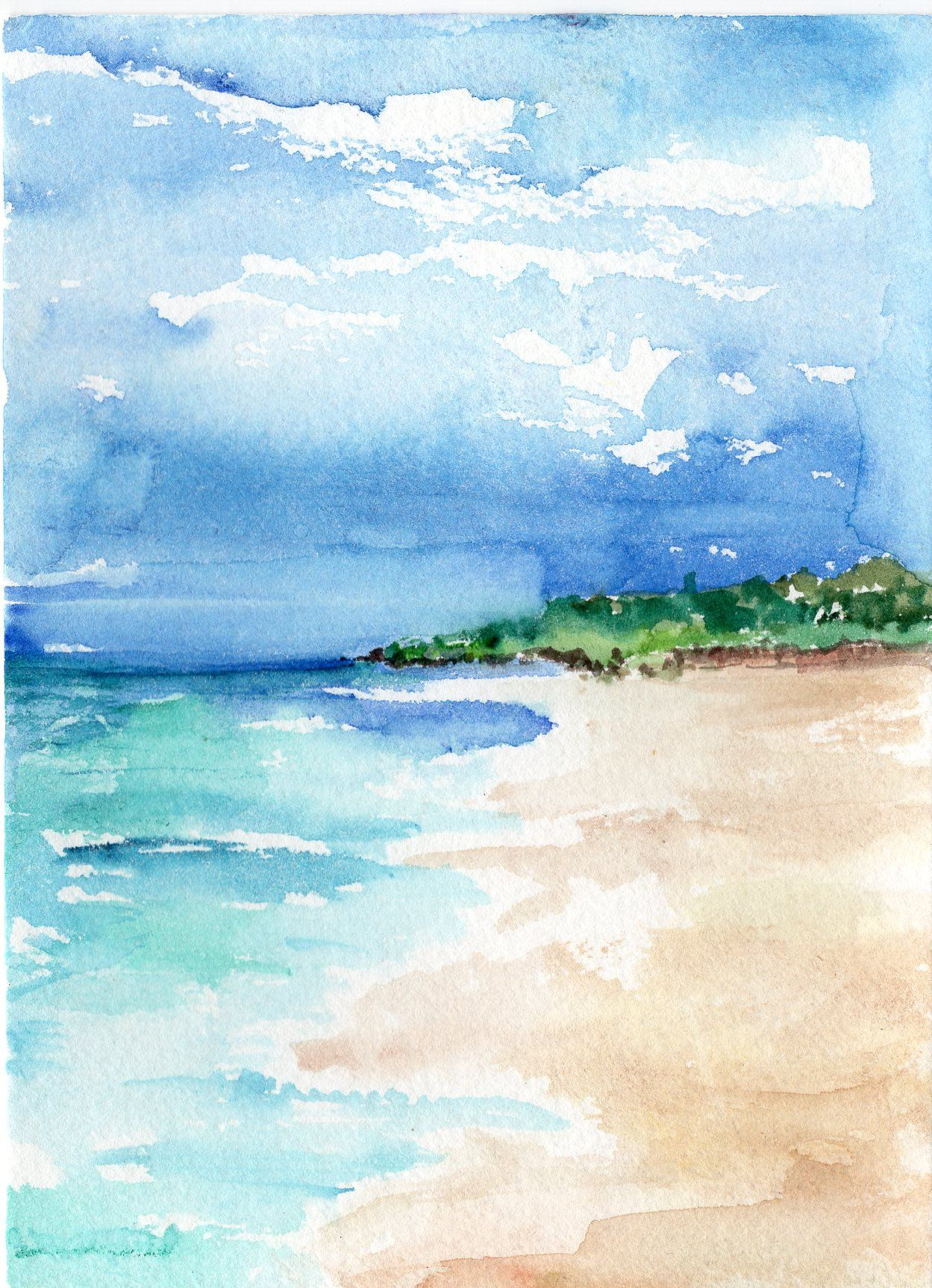 Aruba Original Watercolor Painting Ocean Art Sea Waves 5 X 7