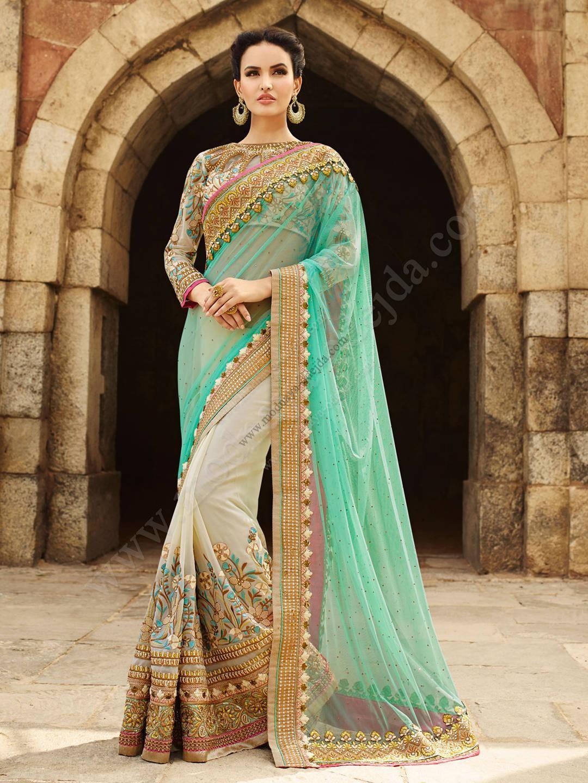 Бежево-зелёное красивое индийское сари