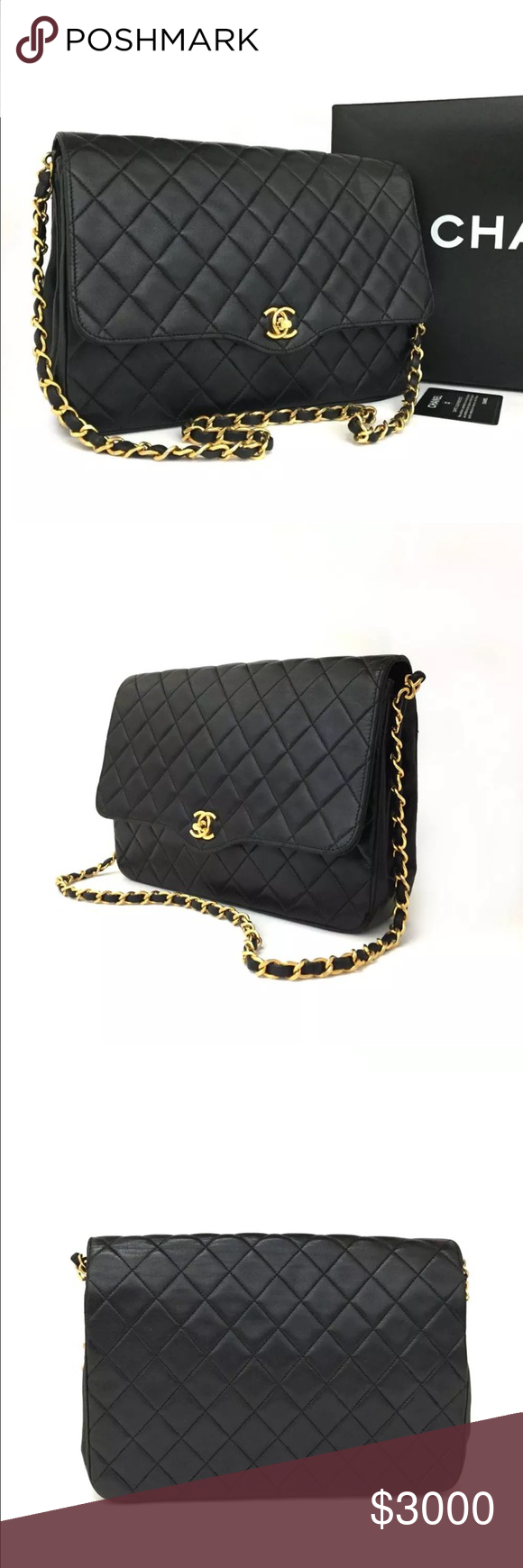 3ee2958ba5f Chanel cc logo matelasse lambskin shoulder bag Authentic Vintage CHANEL  Quilted Matelasse CC Logo Lambskin Chain