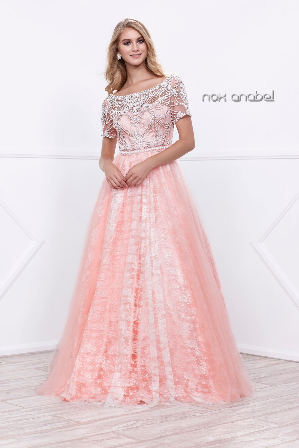 Pink Short-Sleeve Beaded Illusion Dress by Nox Anabel 8300