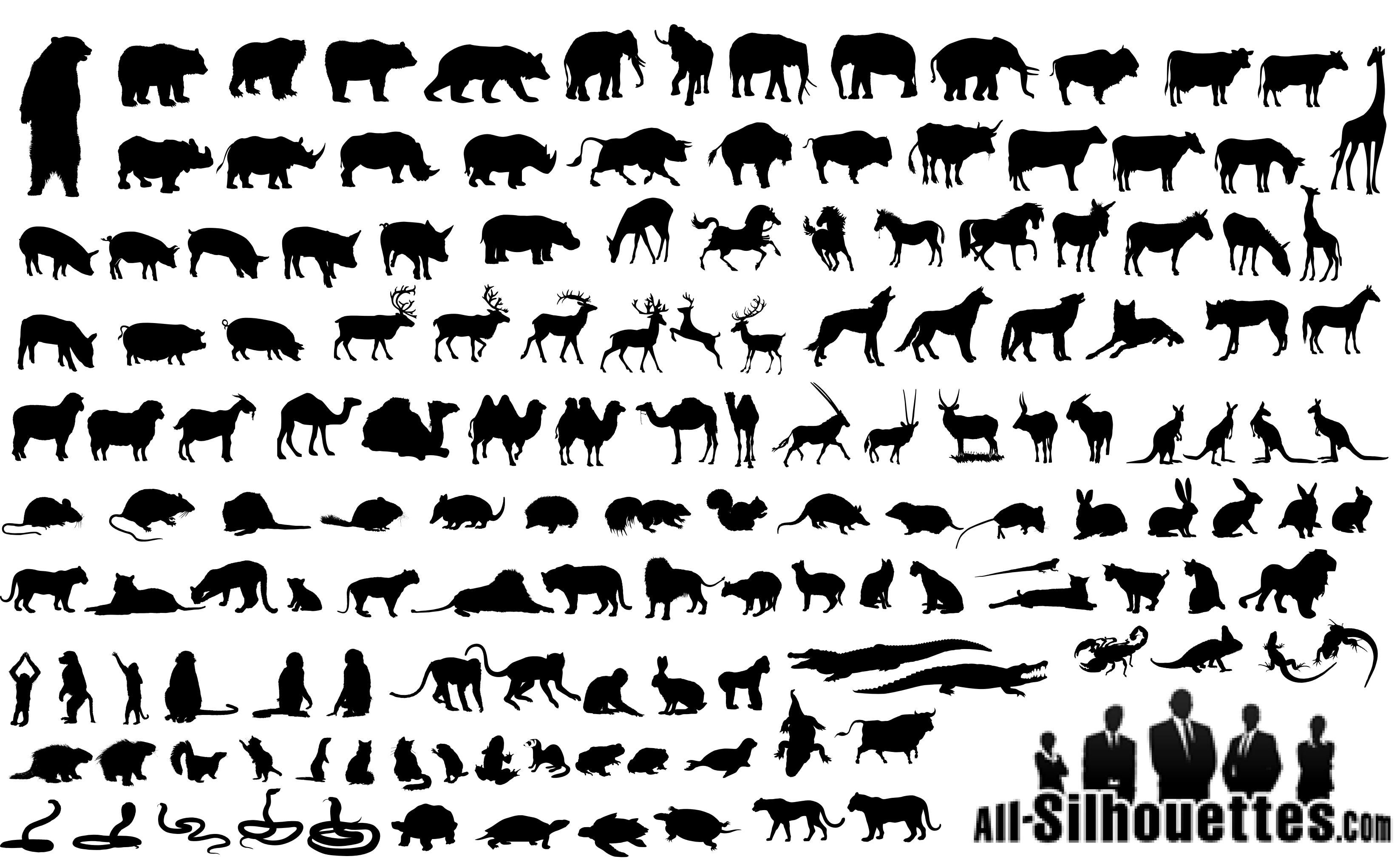 Animals Silhouettes Vector EPS Free Download, Logo , Icons