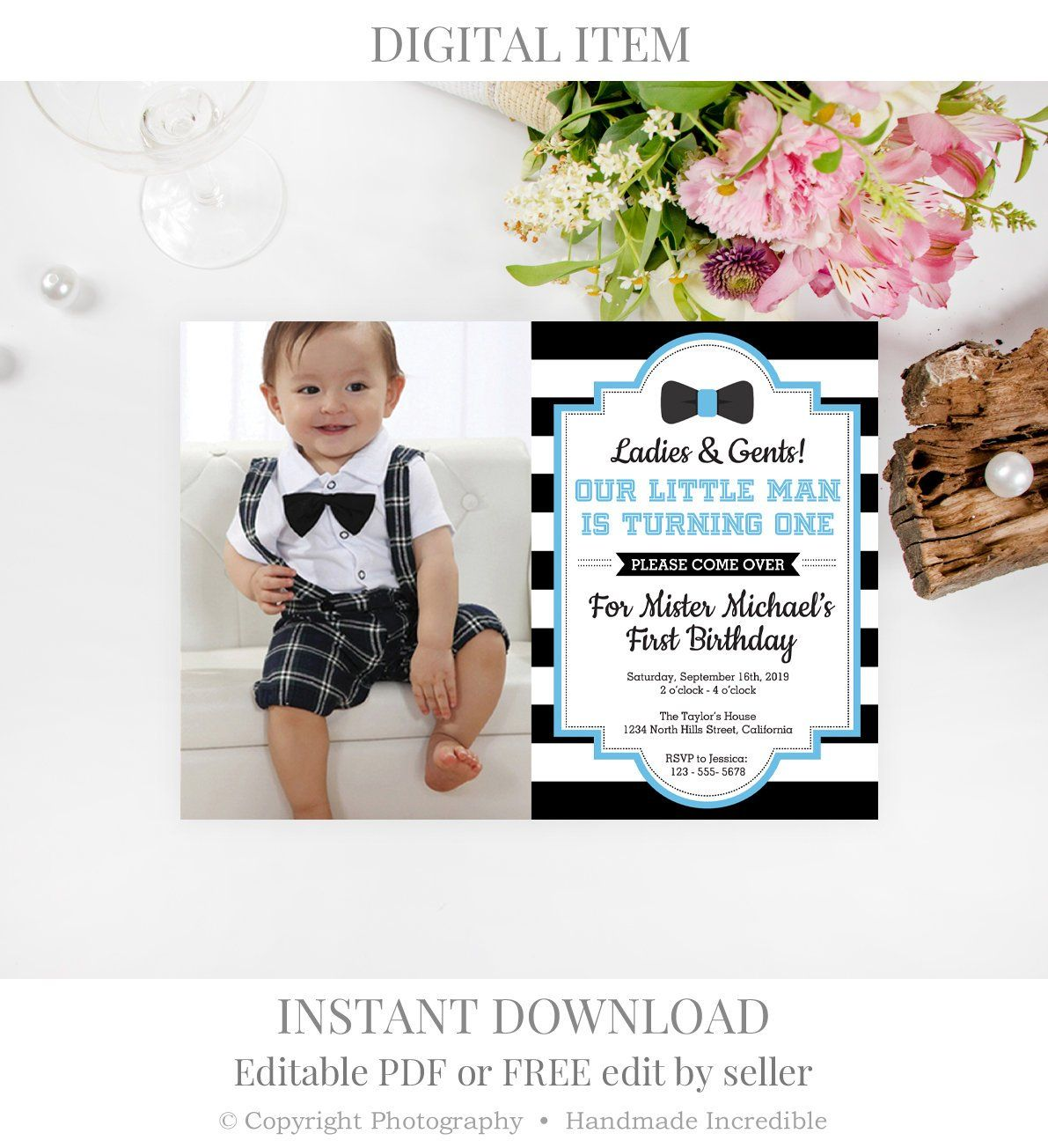 Gentleman Birthday Invitation Template. Printable Gent First ...