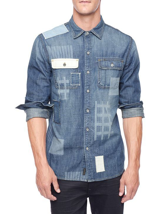 True Religion, Graphic Patchwork Mens Workshirt, broken ledge, Mens : Tops : Shirts, MDPA903LK9BSSM
