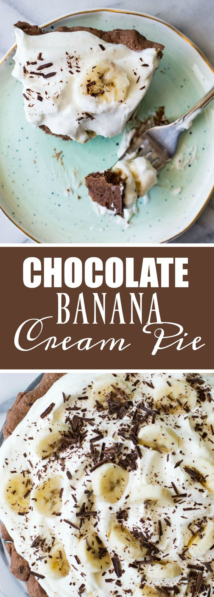 Chocolate Banana Cream Pie #bananapie