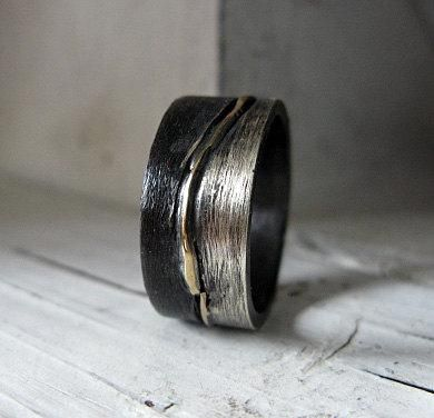 Size 10 Mens Wedding Band Ring Silver Gold Landscape Oxidized Black