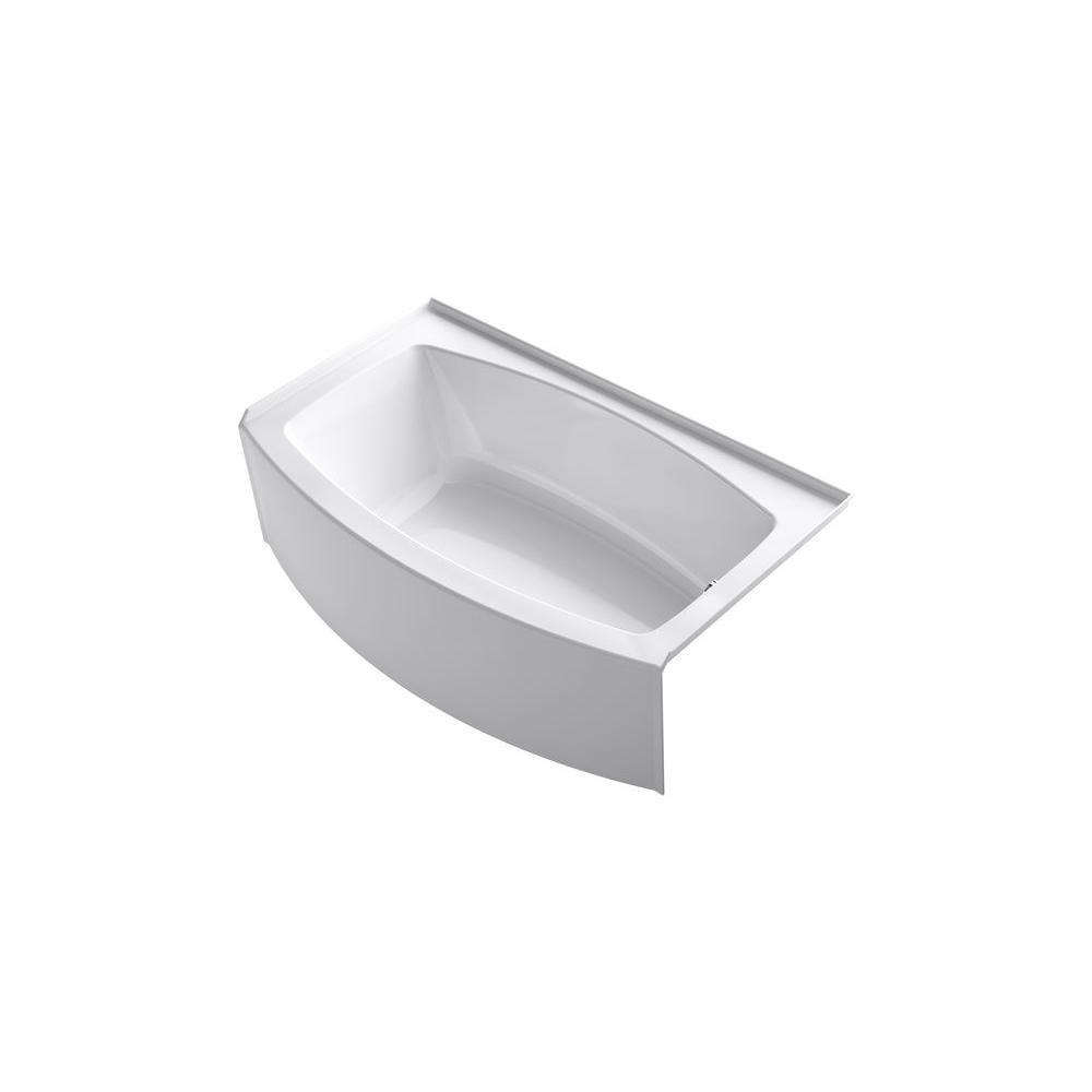 KOHLER Expanse 5 ft. Curved Right Drain Soaking Tub in White   Tubs ...