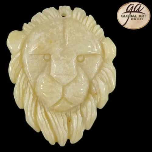 BI01416# 100% Natural Hand Carved Lion Pink Aventurine Gemstone #Handmade #Pendant