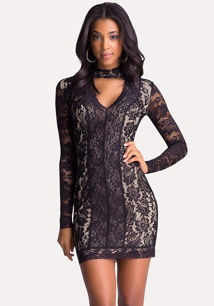 Bebe Long Sleeve Lace Dress