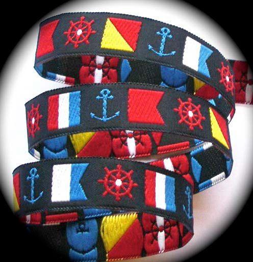Nautical Woven Ribbon 5 8 Navy Yellow Red White Nautical Flags And Wheels Anchors 3 Yds Nautical Flags Woven Nautical