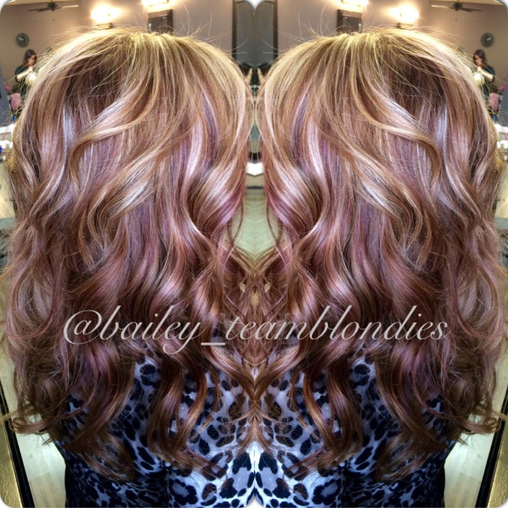 Blonde Highlights With Burgundy Lowlights Done By Karli Yelp Blonde Highlights Bleach Blonde Hair Hair