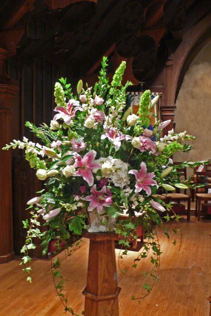 Church Pedestal Arrangement Bodas Arreglos Florales
