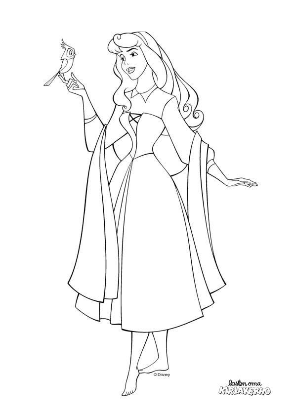 Prinsessa Ruusunen -värityskuva. Sleeping Beauty colouring. Lasten ...