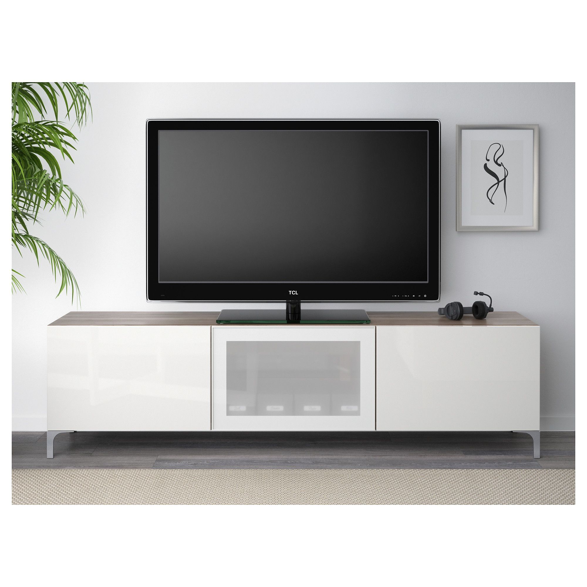Besta Tv Ikea BestÅ Tv Unit With Drawers And Door Walnut Effect Light