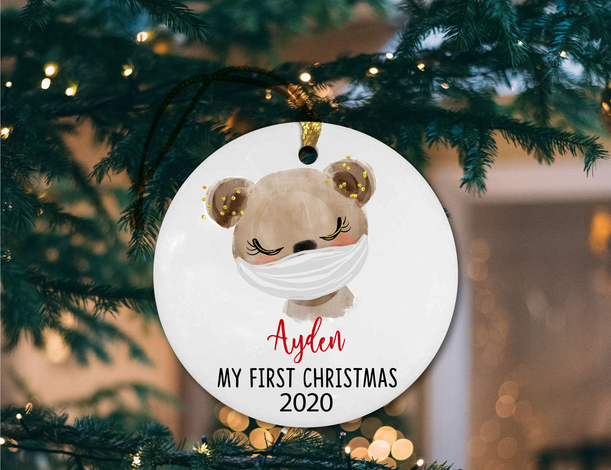 Personalized Christmas Ornaments With Masks Babys First Etsy In 2020 First Christmas Ornament Personalized Christmas Ornaments Christmas Ornaments