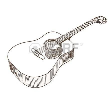Guitarra acústica y notas musicales aisladas sobre fondo blanco ...