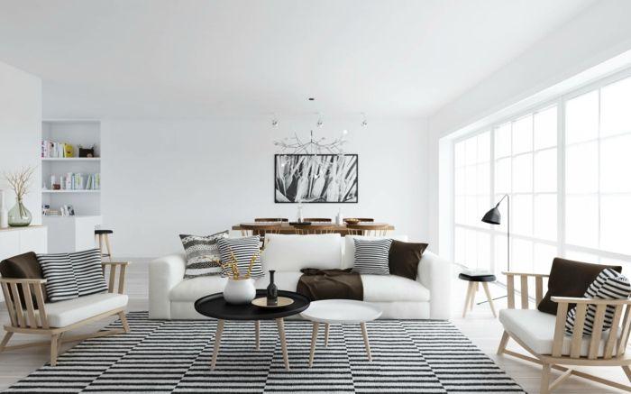wandfarbe weiß wandgestaltung wohnzimmer essbereich foto schwarz - wohnzimmer design weiss
