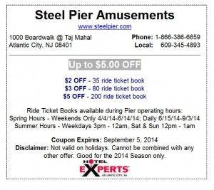Steel Pier Coupon 5 Off Ticket Book Pier Coupons Atlantic City