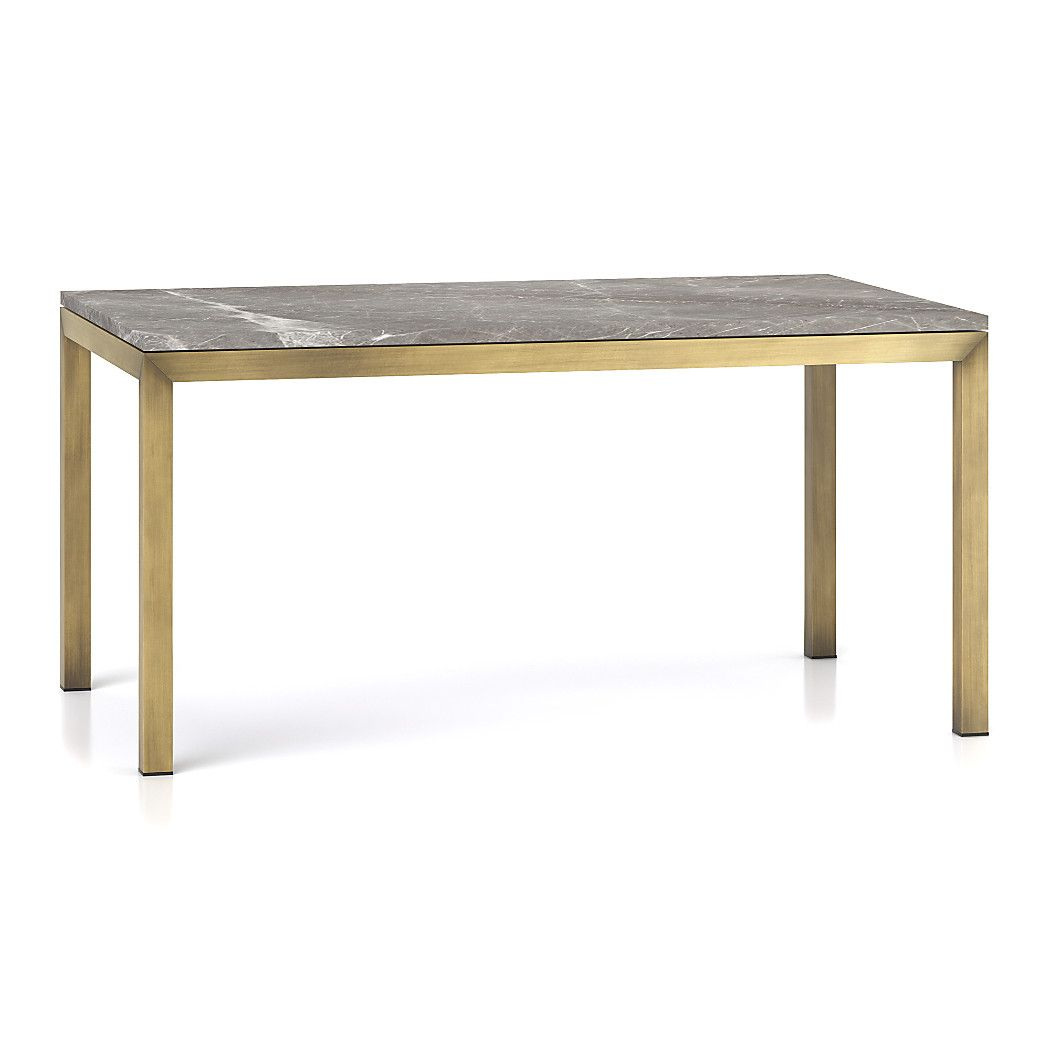 Parsons Grey Marble Top Brass Base Dining Tables Dining Table Metal Dining Chairs High Dining Table