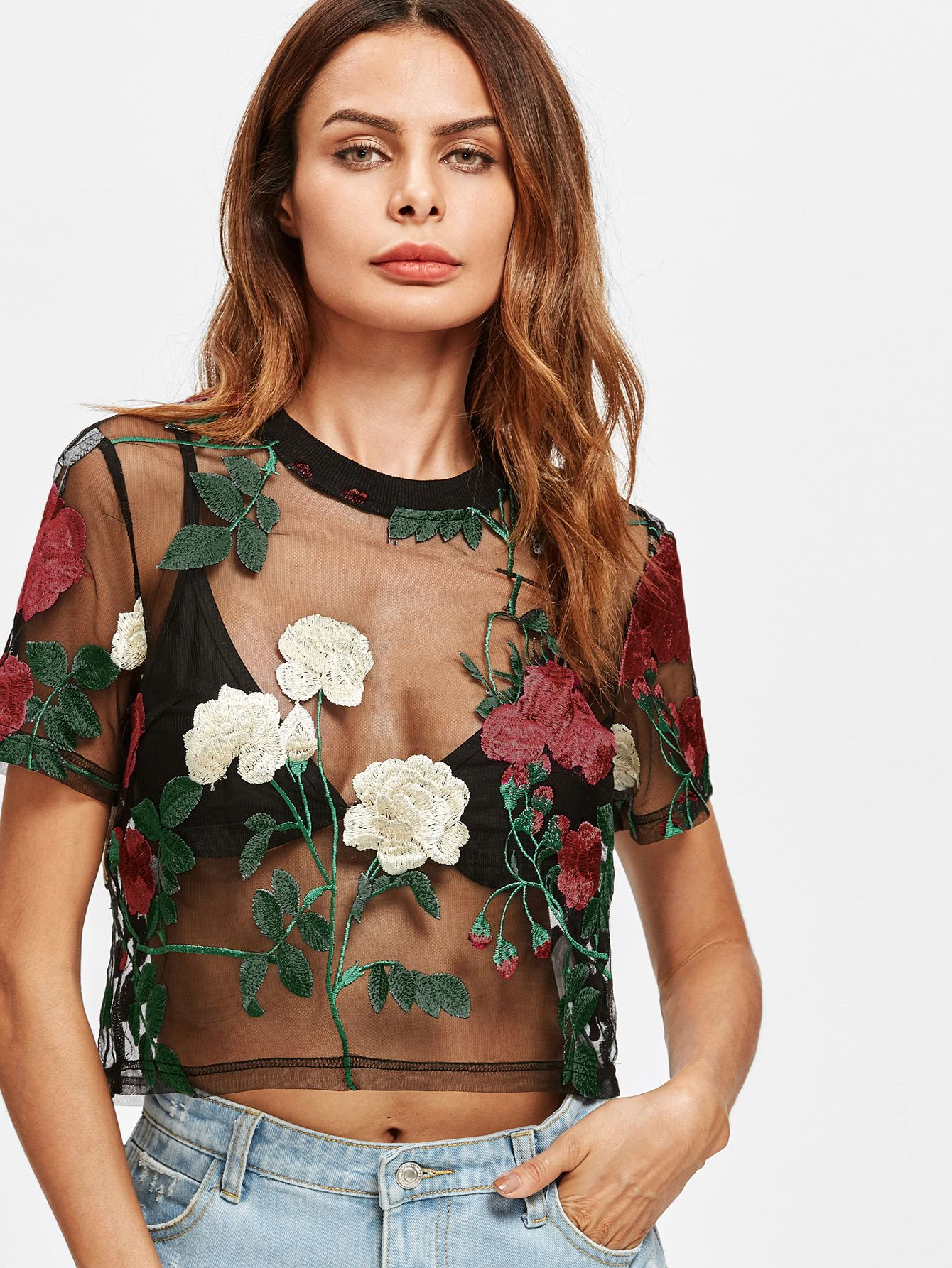5b3220b908319 Shop Flower Embroidered Mesh Top online. SheIn offers Flower Embroidered  Mesh Top   more to fit your fashionable needs.