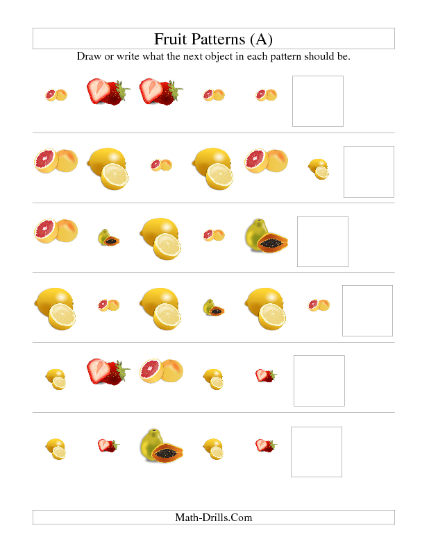 Patterning Worksheet  Picture Patterns  Fruit Shape And Size