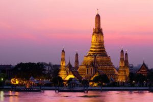 Wat Arun Temple in Bangkok. There are more than 25,000 temples in Thailand.