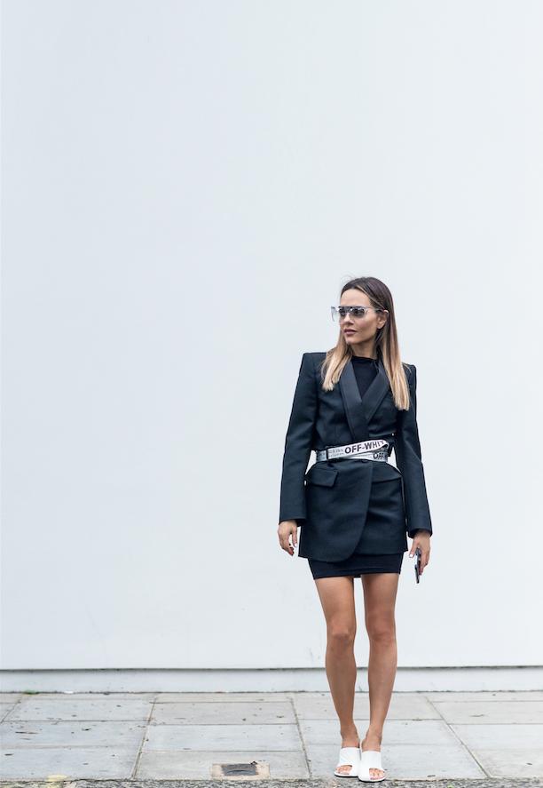 98e22709a4ca4 Maria Hatzistefanis - Mrs Rodial - Street Style - Power Dressing -  Balenciaga Blazer - Off White Belt - Celine Mules