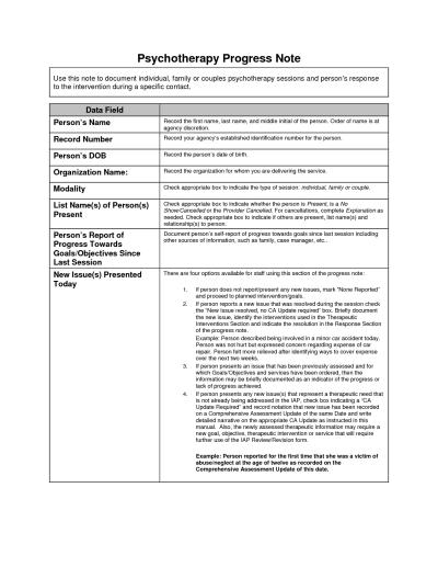 Psychotherapy Progress Note Template Counseling Worksheets