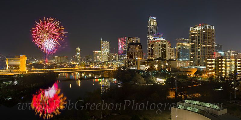 Happy New year from Austin, Texas. Fireworks light up the