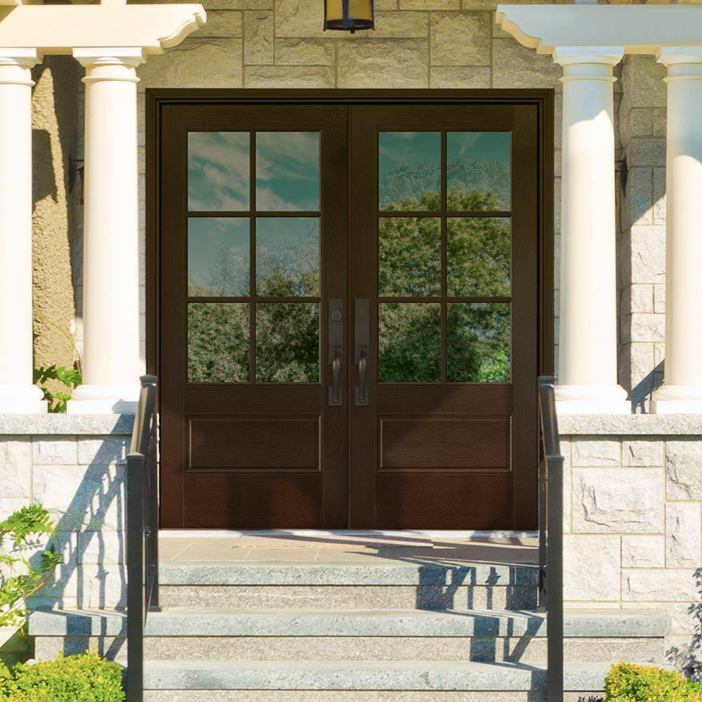 Masonite 72 in. x 80 in. Vista Grande Stained Right-Hand Inswing 6-Lite Clear Glass Fiberglass Prehung Front Door and Vinyl Frame-06266 - The Home Depot