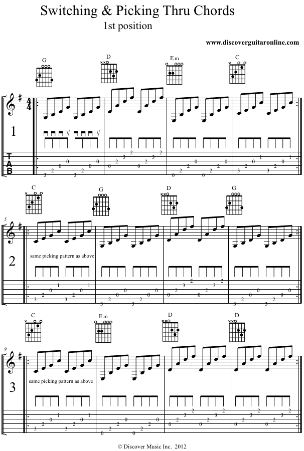 Picking & Switching Chords in 1st Position | Discover Guitar Online ...