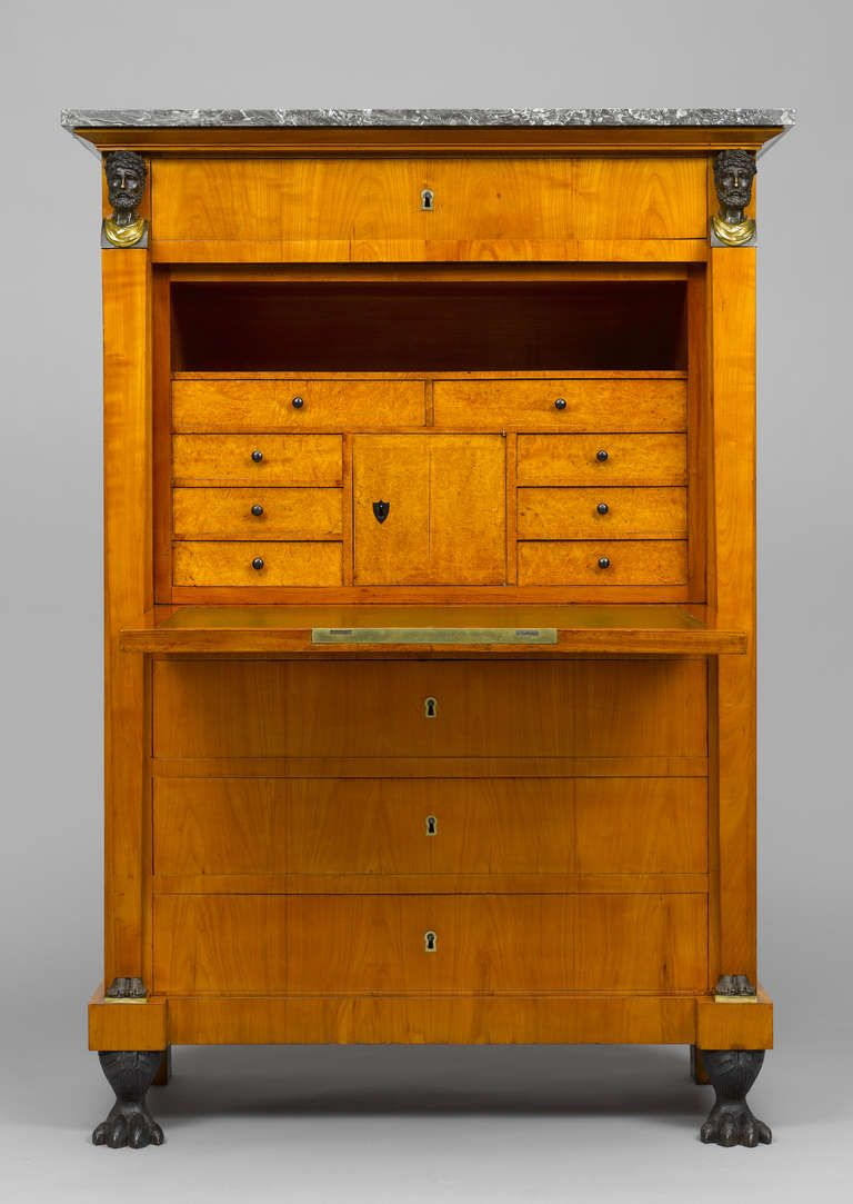 Swiss Early 19th Century Empire Bureau Cabinet Signed Hirschgartner