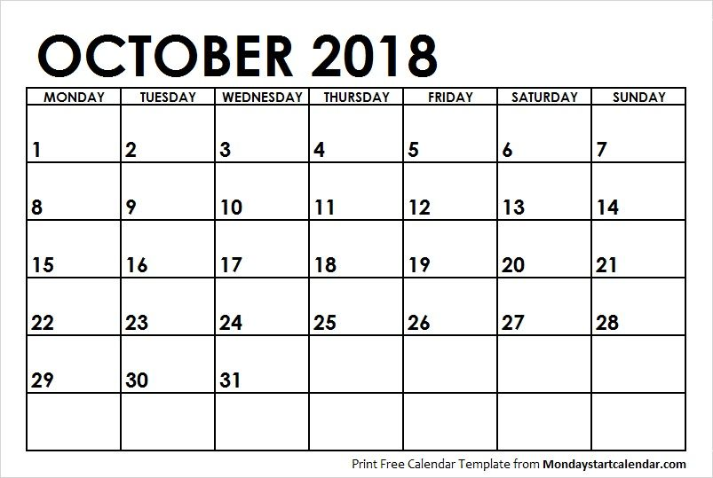 Blank Calendar October 2018 Monday Start Monday Start Pinterest