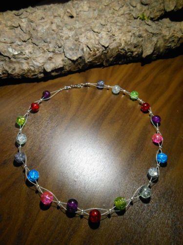 Neu unikat Regenbogen Glas kette bunt Halskette Collier Glasperlen Perlen 4e188ebf84