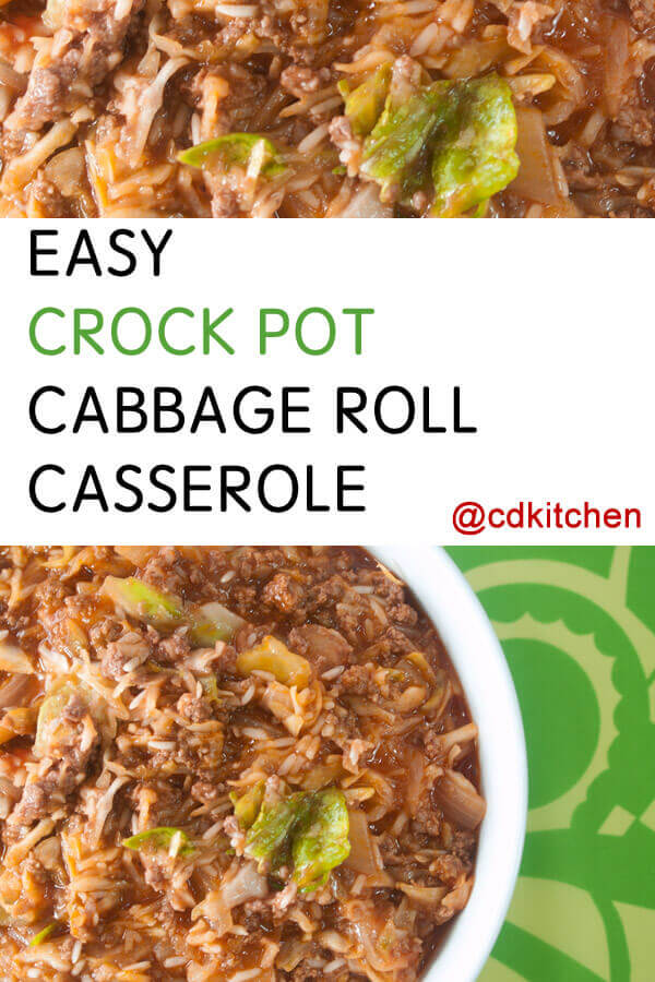 Easy Slow Cooker Cabbage Roll Casserole A Simple Unstuffed Cabbage Roll Recipe Made With Ground B Cabbage Roll Casserole Crock Pot Cabbage Easy Cabbage Rolls