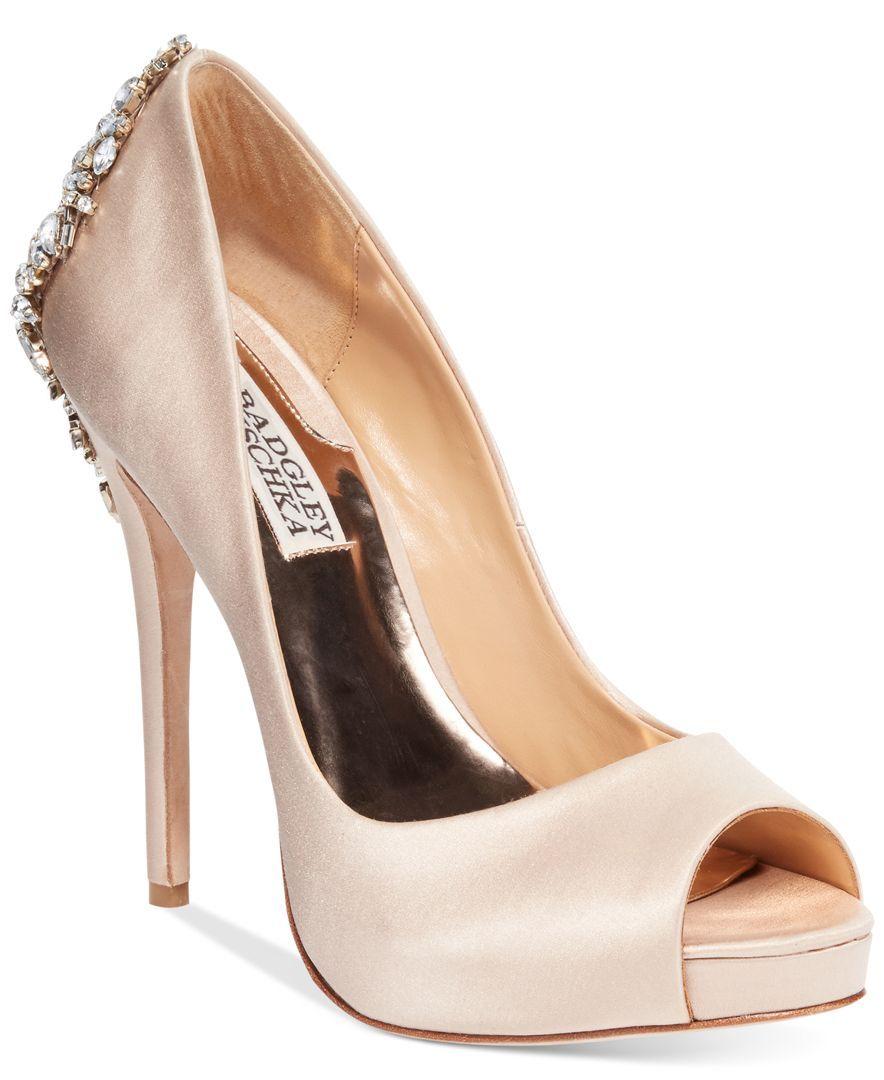 64f91731236a Badgley Mischka Kiara Embellished Peep-toe Pump Wedding shoes ...