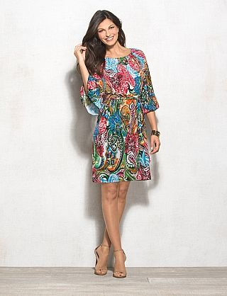 Belted Paisley Dress