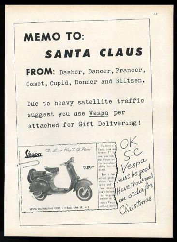 1957-Vespa-scooter-model-photo-Memo-to-Santa-Claus-Christmas-vintage-print-ad