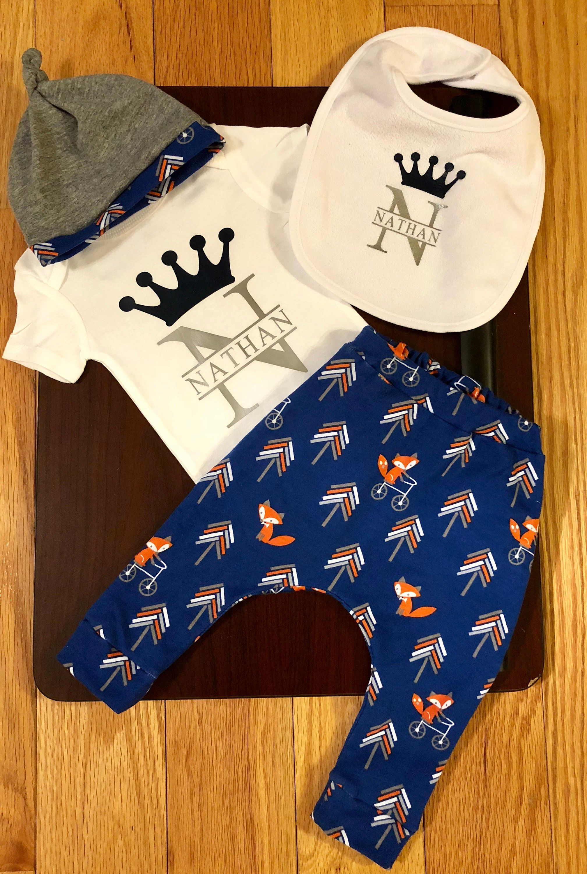287cce23c Baby Boy Going Home Outfit, Blue Fox Print Harem Pants; Baby Set, Baby Boy  Take Home Outfit, Newborn Set, Personalized Baby Gift by  BeyondBowsByNathalie on ...