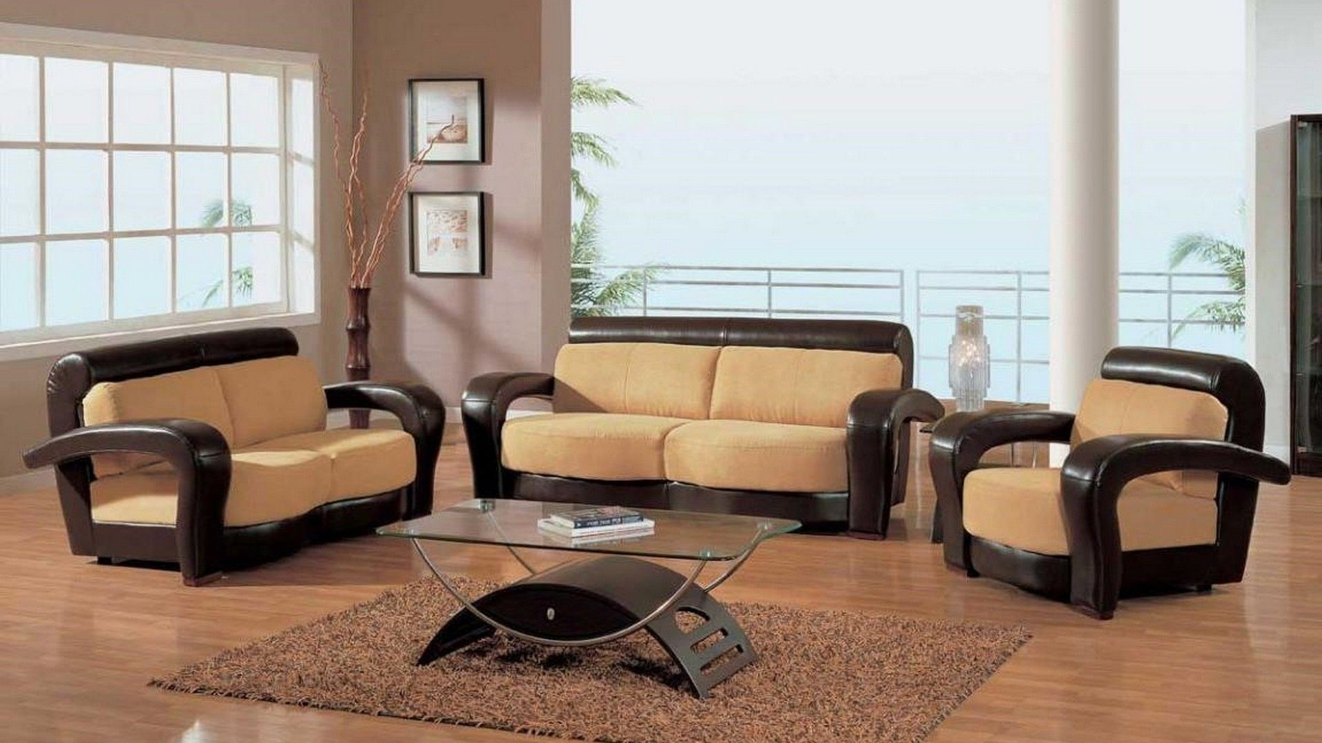 Glamorous Brown Wooden Sofa Set For Room With Hardwood Floor